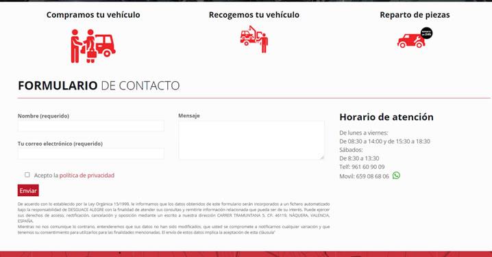 formulario contacto desguace Valencia